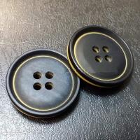 Пуговица пластиковая на прокол, чёрный+жёлтый, 13 мм