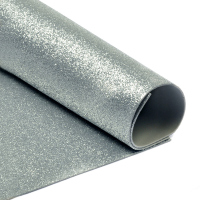 Фоамиран глиттерный 2 мм. серебро, 20х30 cм