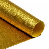 Фоамиран глиттерный 2 мм. золото, 20х30 cм