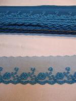 Кружево на сетке синее