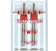 Иглы для бытовых швейных машин Organ двойные 70/3 1,6 шт в пенале
