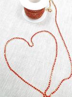 Тесьма декоративная из страз, красная/золото 3 мм.