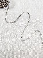 Тесьма декоративная из страз, темный никель 3 мм.