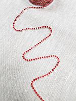 Тесьма декоративная из страз, красная/серебро 3 мм.