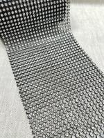 Тесьма декоративная имитация страз, черная/серебро 12 см.