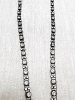 Тесьма декоративная стразы, черная 8 мм.