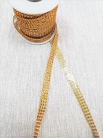 Тесьма из страз на клеевой ленте, золото 10 мм.