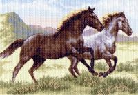 "Рисунок на канве 37х49см арт.1223 ""Бегущие кони"""