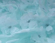Шифон с цветочками бирюза