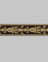 Тесьма жаккард шоколад/золото 3 см
