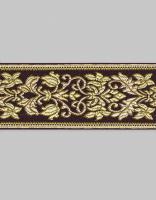 Тесьма жаккард шоколад/золото 6 см